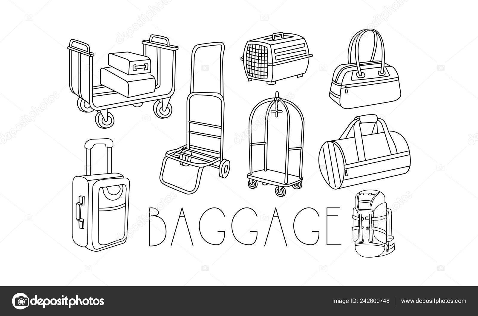 17ff43a6a Conjunto de bolsas de viaje diferente y carritos para el equipaje en doodle  estilo. Envase pet, maleta, mochila de viaje, bolso de las mujeres.