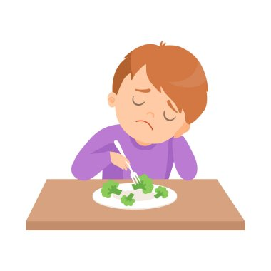 Cute Boy Does Not Want to Eat Broccoli, Kid Does Not Like Vegetables Vector Illustration