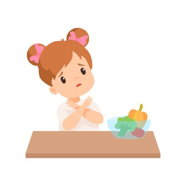Cute Little Girl Does Not Want to Eat Vegetables, Kid Refusing to Eat Healthy Food Vector Illustration