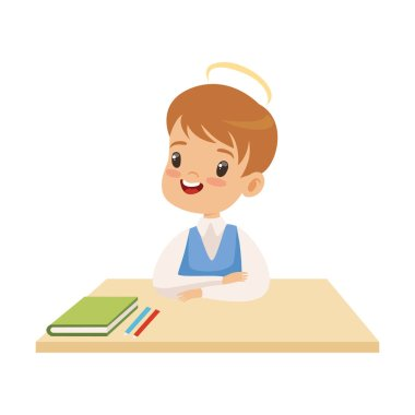 Little Boy With Halo on His Head Sitting at Desk, Cute Child with Good Manners Vector Illustration
