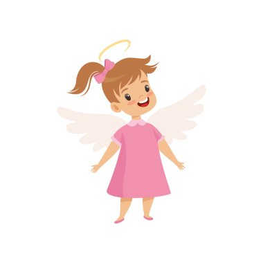 Little Winged Girl With Halo on Her Head Wearing Pink Dress, Cute Child with Good Manners Vector Illustration