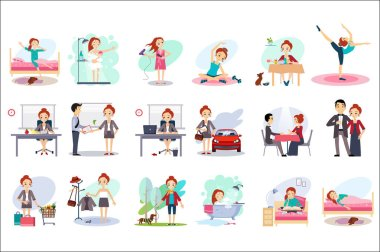 Active day of happy woman. Daily routine. Cartoon character of young pretty girl in different situations. Day time. Home and work. Colorful flat vector design
