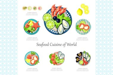 Seafood Cuisine of World, restaurant delicious dish, design element for banner or poster vector Illustration on a white background