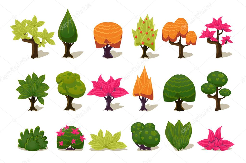 Colorful fantasy tree and plants, nature details for computers game interface vector Illustrations on a white background