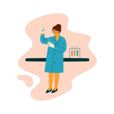 Female Scientist Technician Character Wearing Blue Coat Working at Researching Lab, Scientific Research Concept Vector Illustration