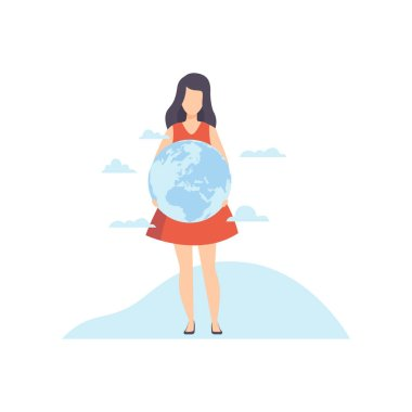 Young Woman Holding Earth Globe in Her Hands Vector Illustration