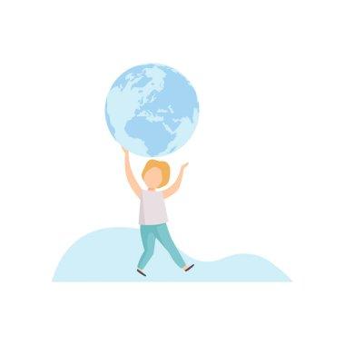 Cute Boy Holding Big Terrestrial Globe Over His Head Vector Illustration