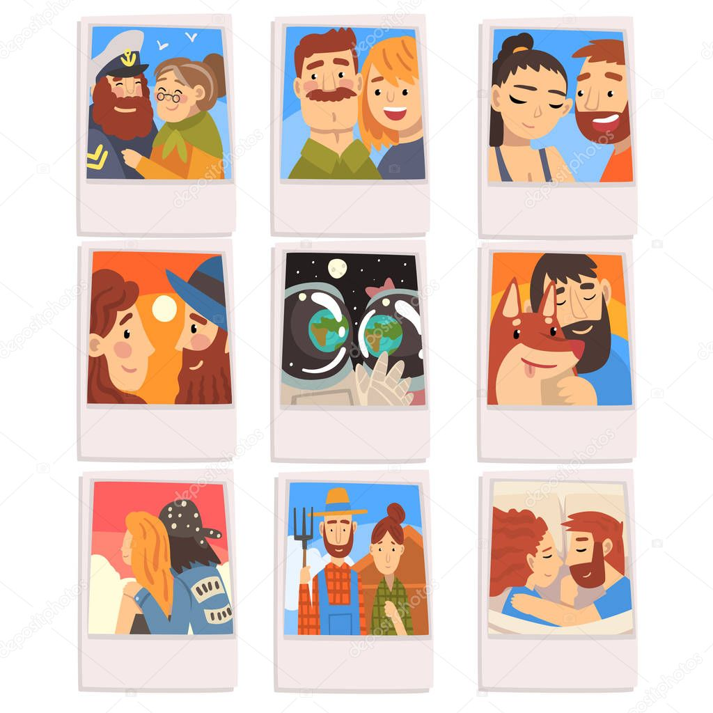 Portraits of Happy People Set, Photos of Romantic Couples, Families, Male Owner and His Pet Dog Vector Illustration on White Background. stock vector
