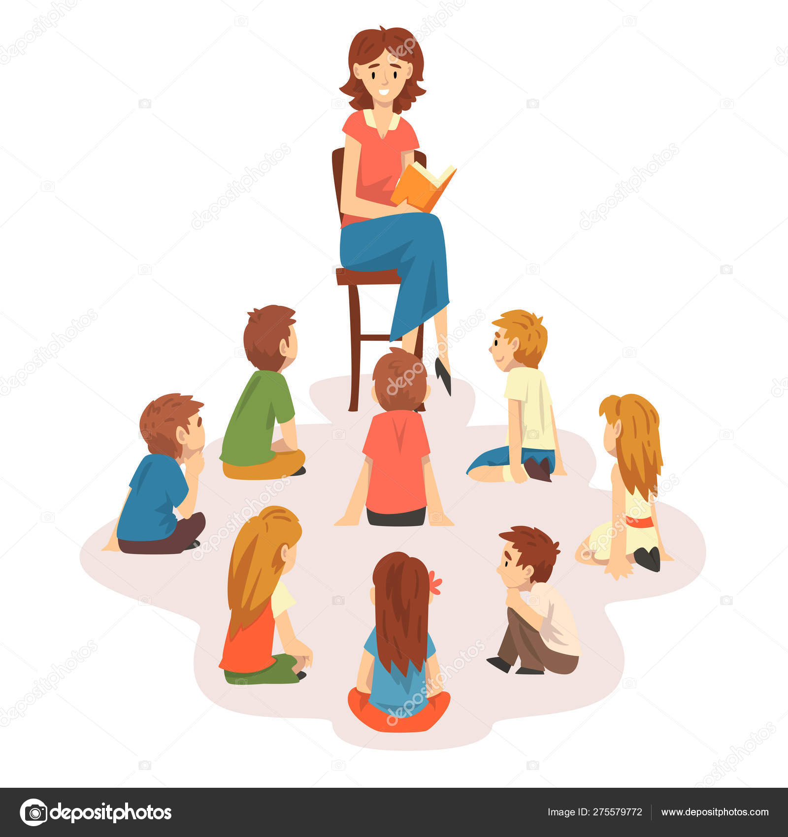 Stupendous Group Of Preschool Kids Sitting On Floor Teacher Sitting On Gmtry Best Dining Table And Chair Ideas Images Gmtryco