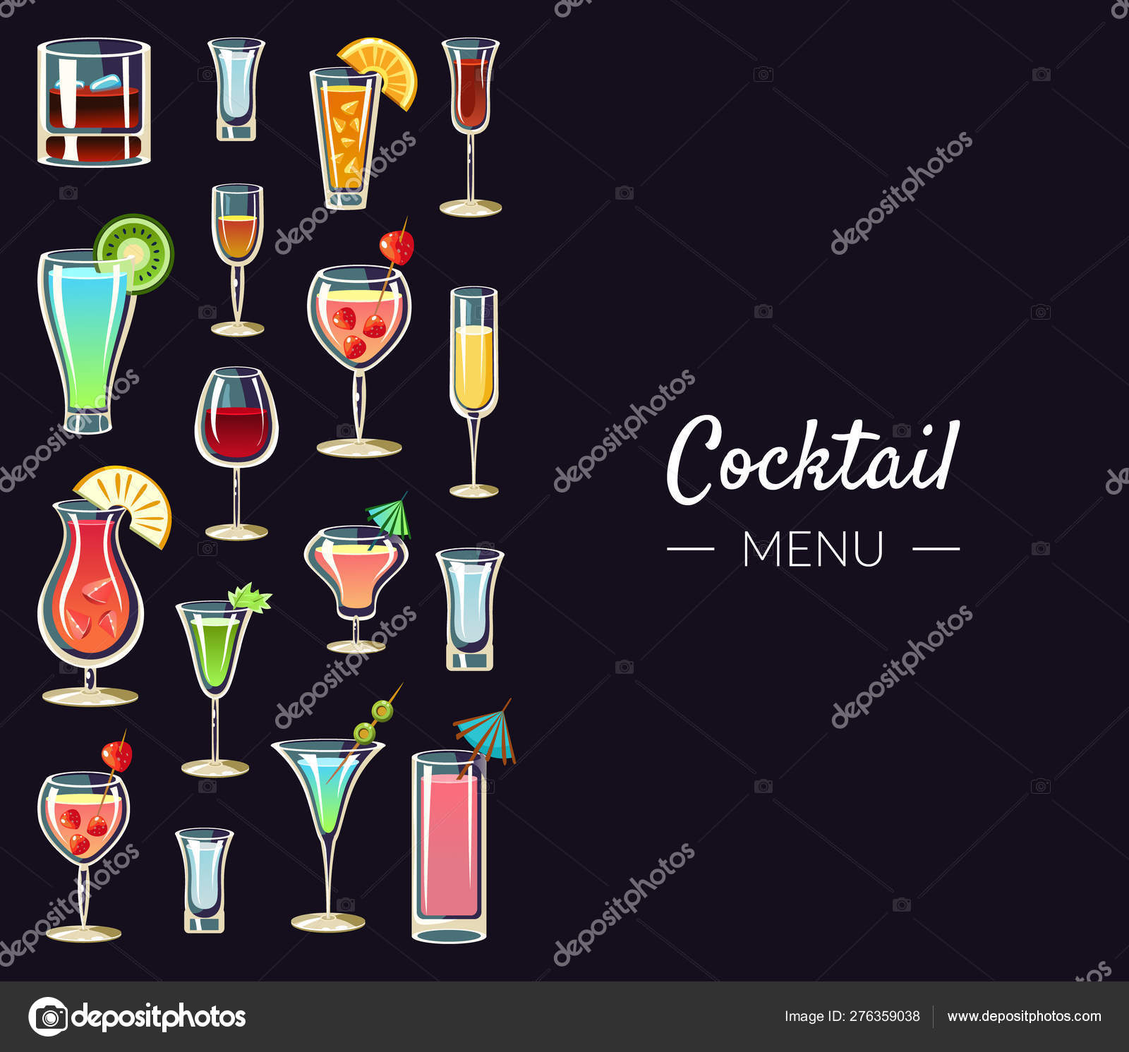 Cocktail Menu Banner Template Alcoholic Beverages Bar