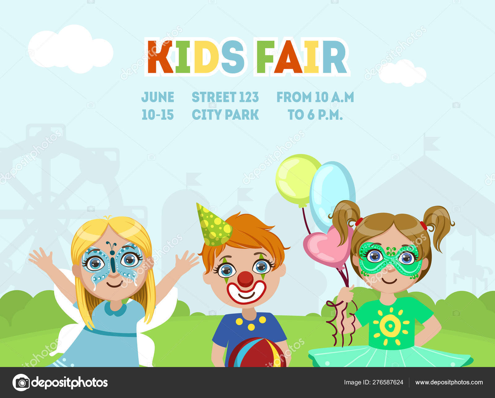 Kids Fair Banner Template Children Costume Party Flyer