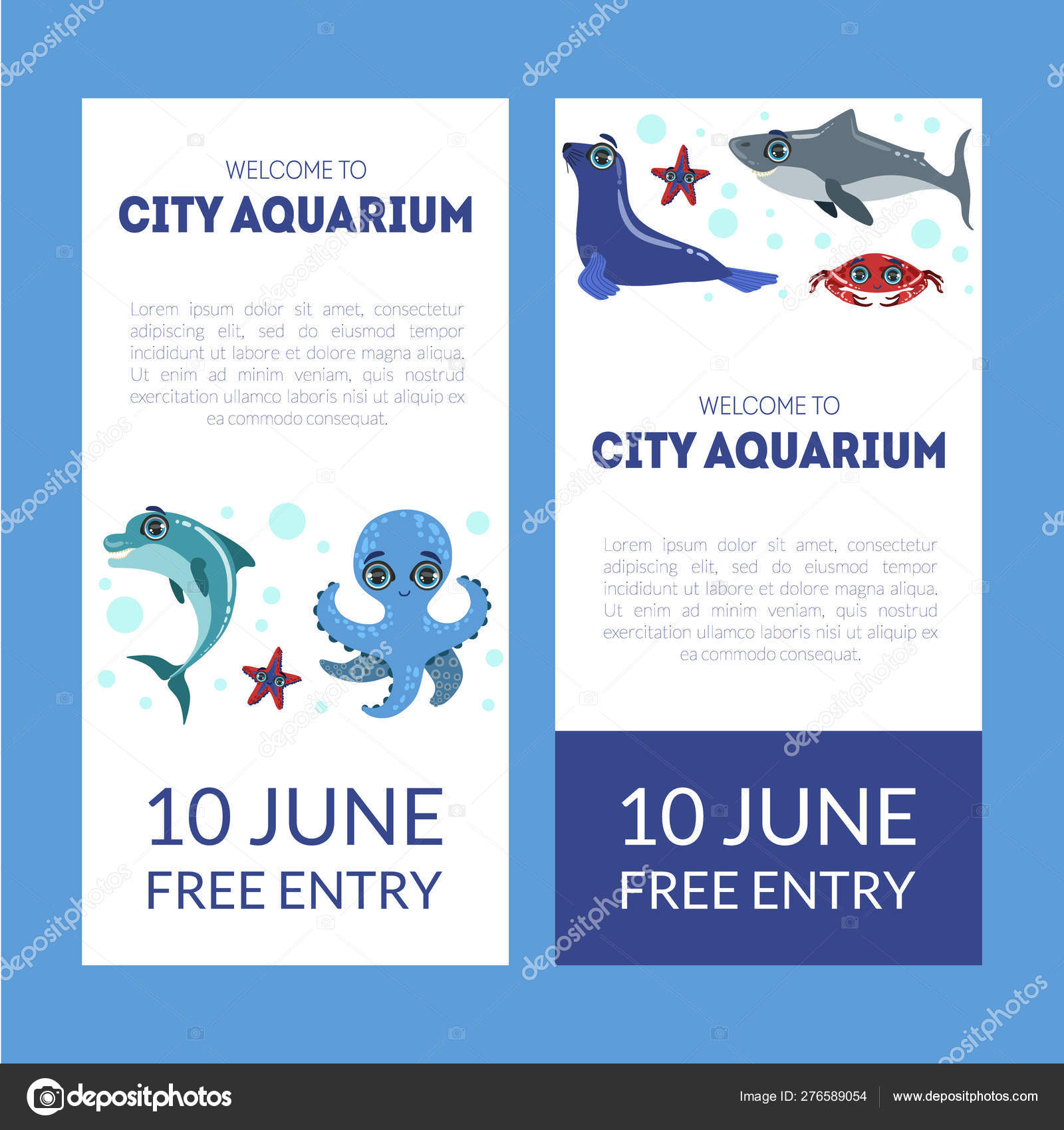 City Aquarium Exhibition Banner Templates Set Flyer Poster
