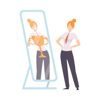 Narcissistic Woman Character Looking at Mirror and Seeing in Reflection of Herself with Winner Cup, Girl Overestimate Herself, Self Confidence, Motivation Vector Illustration