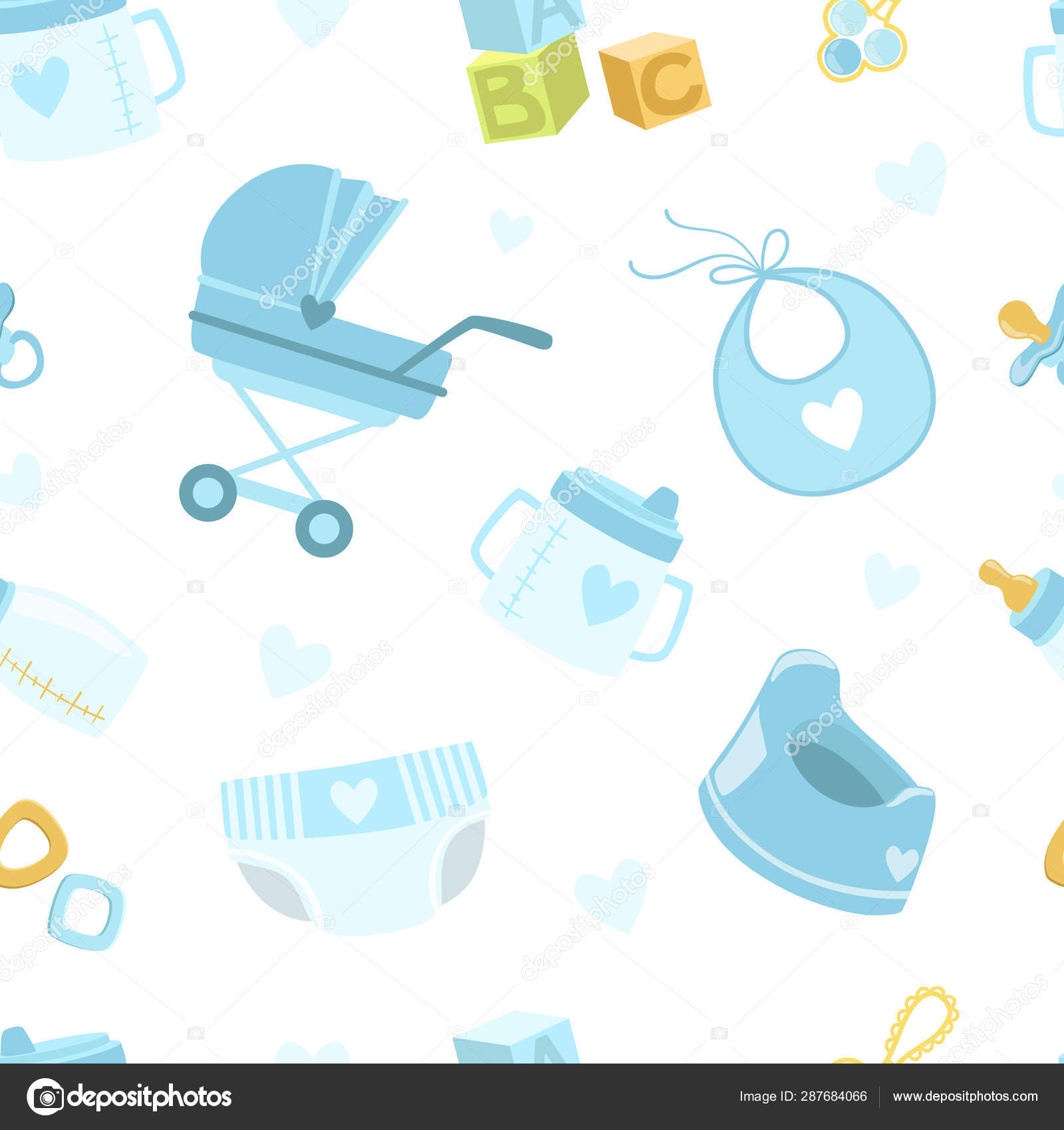 Baby Boy Shower Seamless Pattern Newborn Baby Symbols Design Element Can Be Used For Wallpaper Packaging Background Vector Illustration Stock Vector C Topvectors 287684066