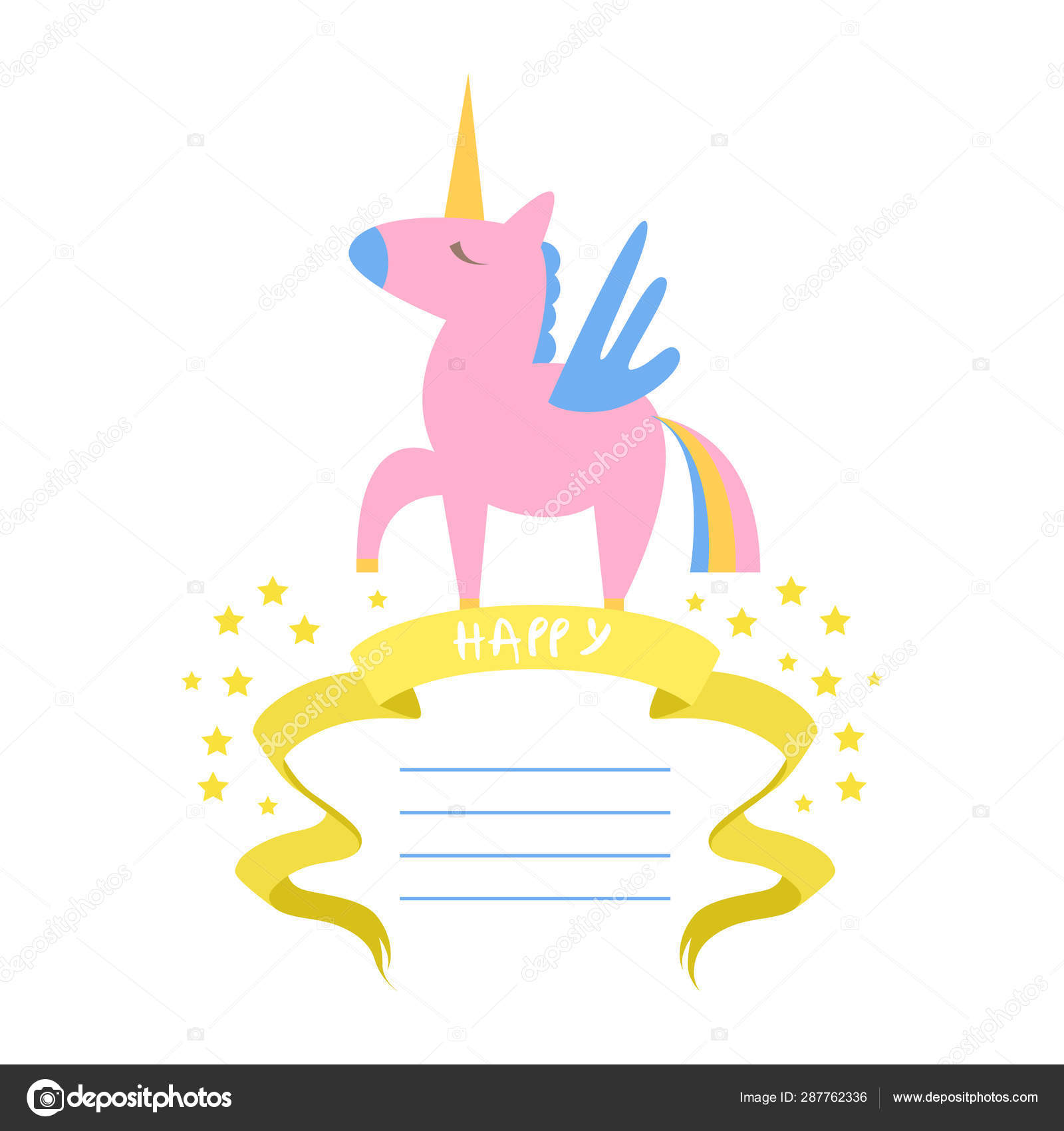 Hermosa Plantilla De Tarjeta De Unicornio Con Lugar Para
