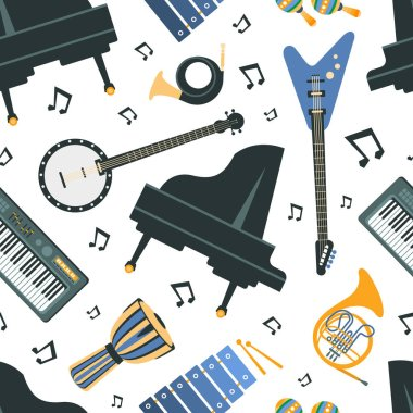 Musical instruments Seamless Pattern, Piano, Banjo, Guitar, French Horn, Trumpet, Synthesizer, Design Element Can Be Used for Textile, Wallpaper, Packaging, Background Vector Illustration