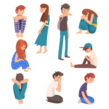 Unhappy Sad Boys and Girls Set, Depressed, Lonely, Anxious, Abused Teenagers Having Problems, Stressed Students Vector Illustration