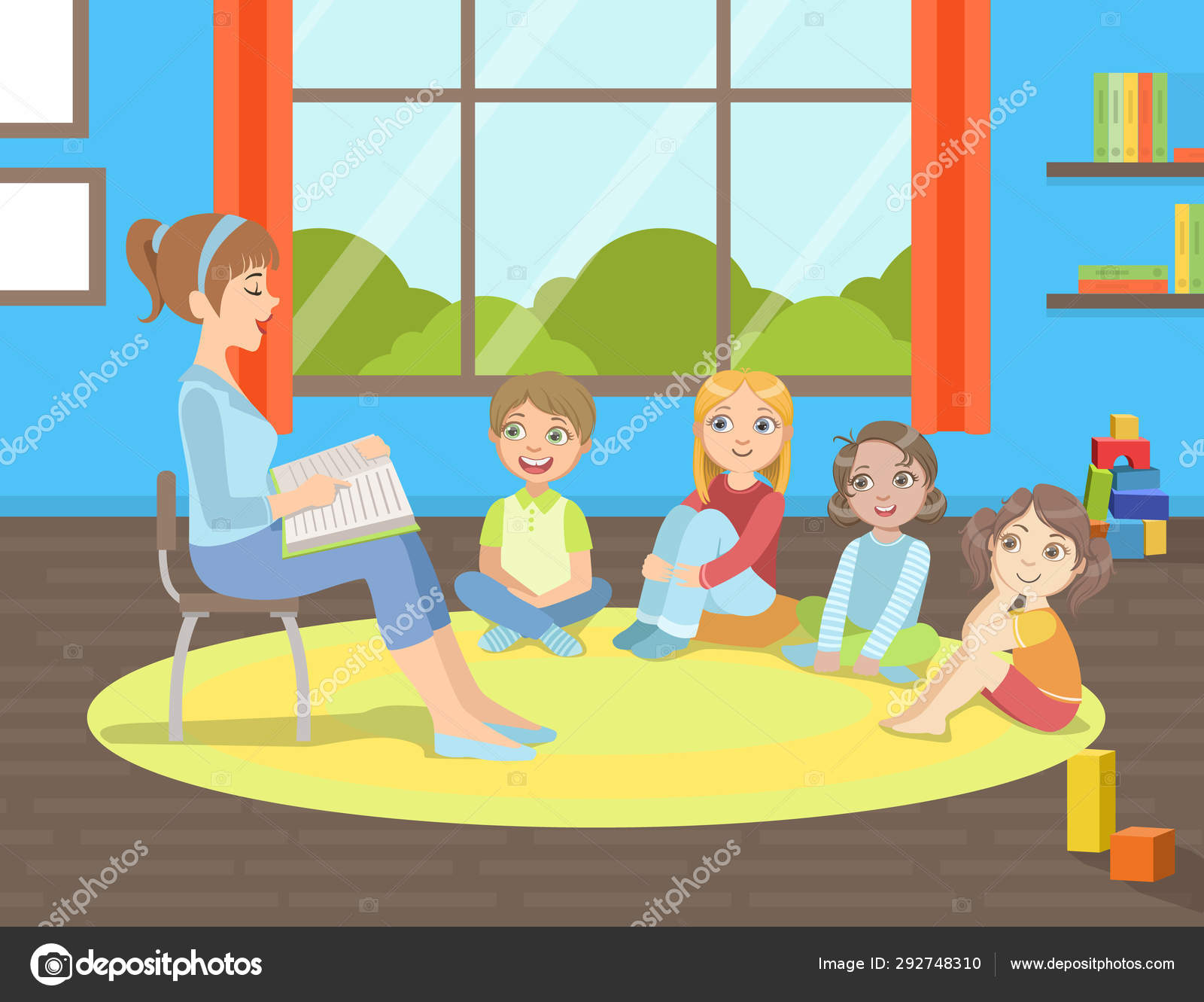 Surprising Group Of Kids Sitting On Floor Teacher Sitting On Chair And Gmtry Best Dining Table And Chair Ideas Images Gmtryco