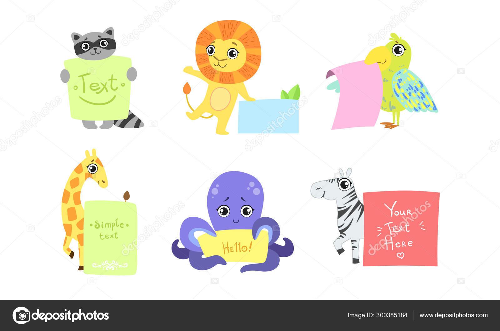 Cute Animals Holding Banners Set Adorable Happy Cartoon Characters Standing With Blank Sheets Of Paper Raccoon Lion Bird Giraffe Octopus Zebra Vector Illustration Stock Vector C Topvectors 300385184