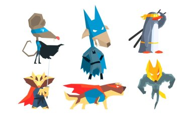Funny Animals Characters Set, Courageous Cute Animals Dressed as Superheroes with Capes And Masks in Different Action Poses Vector Illustration