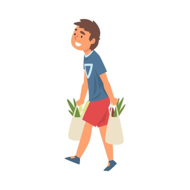 Boy Carrying Shopping Bags with Groceries Vector Illustration