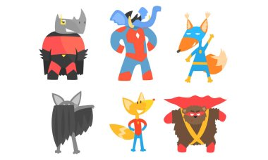 Cute animals in masks and cloaks of superheroes. Vector illustration.