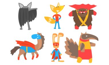 Funny animals in masks and cloaks of superheroes. Vector illustration.