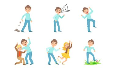 Types of bullying one boy against another. Vector illustration.
