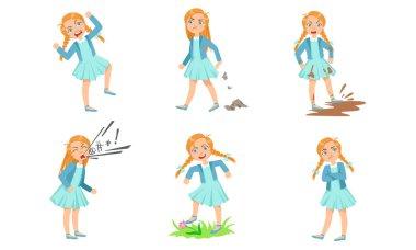 Types of bad behavior girls. Vector illustration.