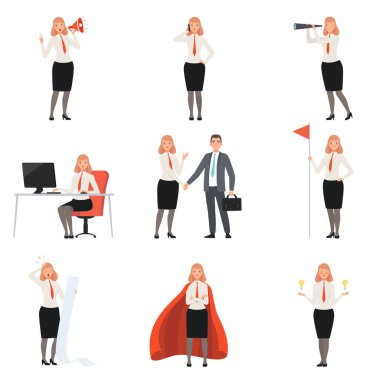 Businesswomen characters, people in business suits in different situations vector illustration
