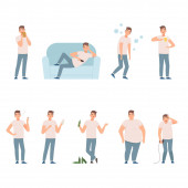 Lifestyle problems. People in a bad images and situations illustration vector