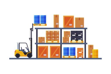 Warehouse Interior, Shelves with Cardboard Boxes and Forklift Flat Style Vector Illustration Isolated on White Background
