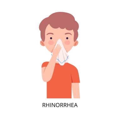 Boy Suffering from Rhinorrhea, Symptom of Viral Infection, Influenza or Respiratory Illness, Healthcare and Medicine Information about Flu and Virus Prevention Flat Vector Illustration