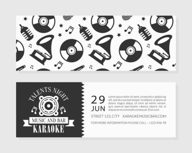 Karaoke Music and Bar Card Template, Talents Night Flyer, or Invitation Card Front and Back Sides, Concert, Music Festival Vector Illustration