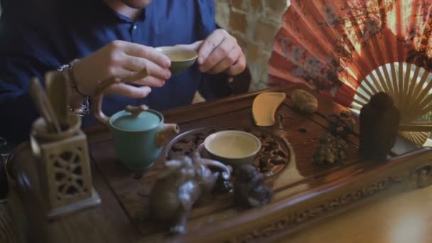 Close Up of Man is drinking green tea from Gaiwan
