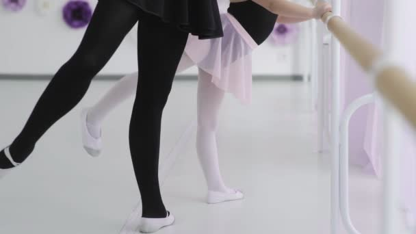 Small ballerina repeats the movements with the teacher. ballet lesson in the studio