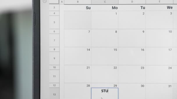 Writing STUDY TIME on 29th on calendar to remember this date.