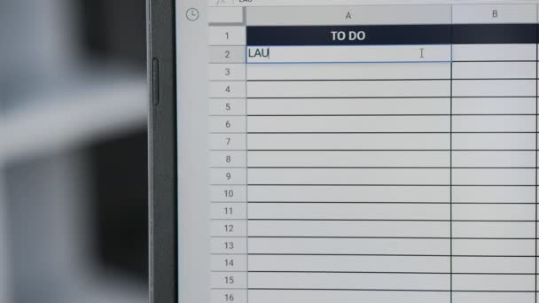 Person marking task LANDRY in online plan, to-do list