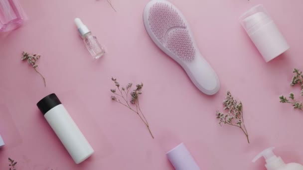 Szépség motívum téma lapos feküdt kreatív elrendezés pro környezet rózsaszín háttér