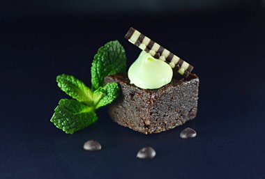 still life food confectionery chocolate cake with mint