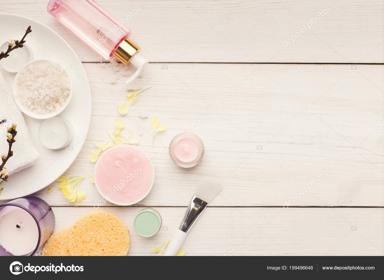 Various Skincare Products On White Wood Stock Photo C Milkos 199496648
