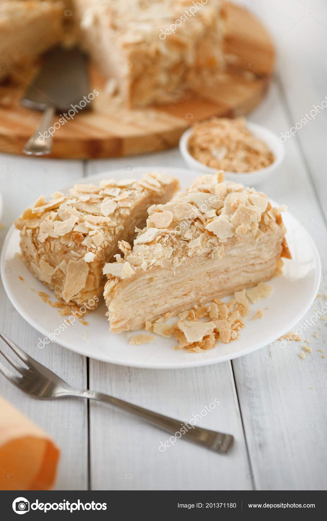 Teil Des Klassischen Napoleon Kuchen Closeup Stockfoto C Milkos