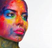 Krásu modelu s barevný prášek tvoří