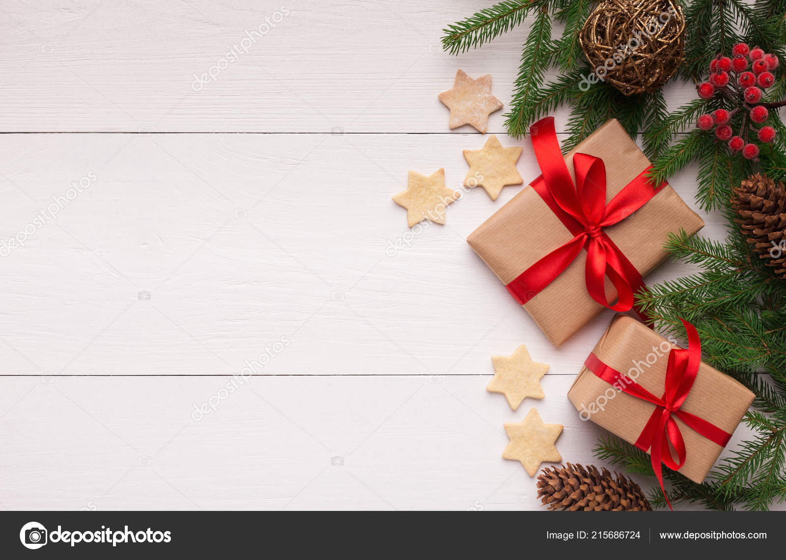 Composition with Christmas gift box and fir tree branch — Stock ...