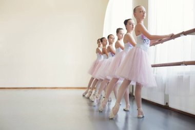 Young ballerinas rehearsing in ballet class, performing different exercises