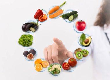 Nutritionist making diet plan on virtual screen