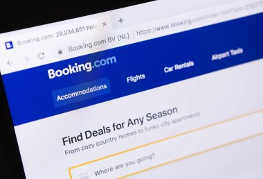 Homepage of official website for Booking.com on computer screen