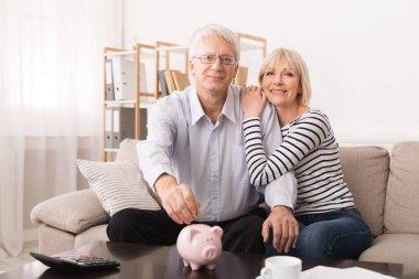 Elderly couple saving money in piggybank at home