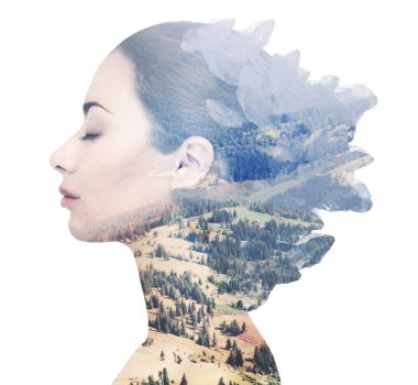 Double, multiple exposure of woman combined with idyllic nature. Beautiful mountain valley landscape and profile of female face. stock vector