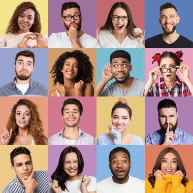 Set of millennials emotional portraits.